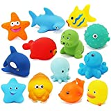 Toywale animal bath New/Funy Cute Cartoon Animal Style Soft Floating Squeaky Rubber Bath Toys Pack Of 12CHU CHU TOY