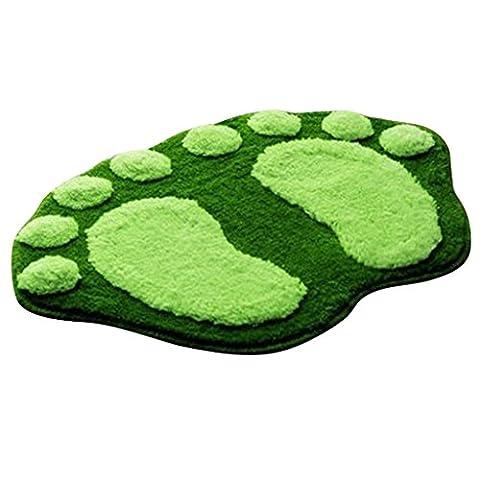 Peluche Tapis de Bain Doux en Forme d'Empreinte de Pied Mignion Paillasson Anti-dérapant - Vert