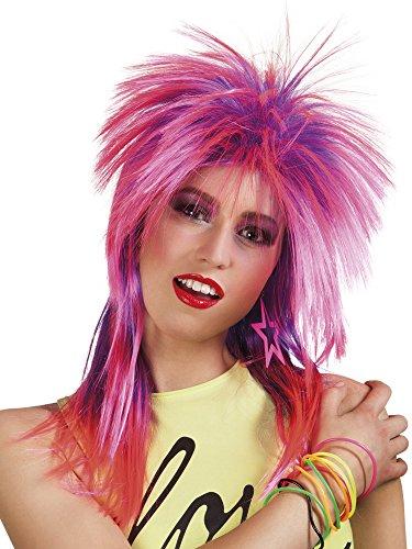80er Jahre Vokuhila Perücke pink Rockerin -