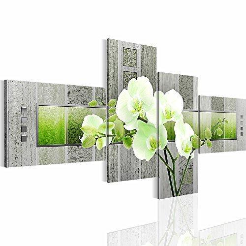 Bilder Blumen Orchidee Wandbild 100 x 50 cm Vlies - Leinwand Bild XXL Format Wandbilder Wohnzimmer Wohnung Deko Kunstdrucke Gelb 4 Teilig - Made IN Germany - Fertig zum Aufhängen 204642b