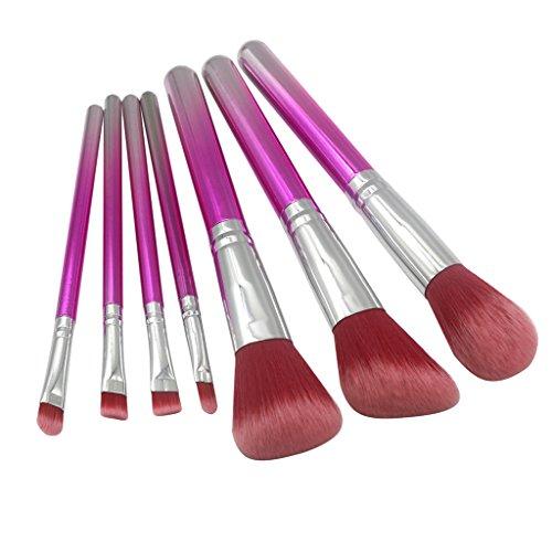 perfk 7pcs Kit Pinceau Maquillage à Lèvres, Nez, Yeux, Visage Brosse Cosmétique à Fond de Teint Contour Yeux Peinture Visage Eyeliner et Ombre Paupières - Rouge