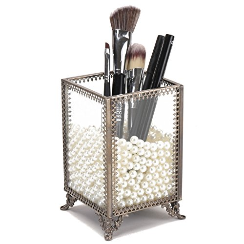 Antik Make-up-Organizer klar Glas & Messing Metall Bürstenhalter Vintage geschnürt Stil Make Up Pinsel Halter Display mit GRATIS weiß Perlen Staub