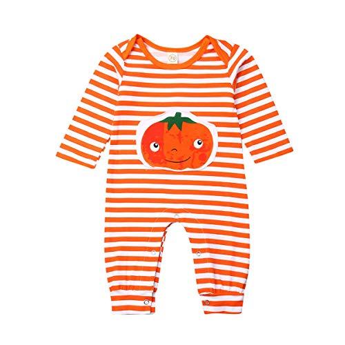 Qinngsha Baby-Kleidung, Mädchen-Jungen-Karikatur-gestreifte Spielanzug-Overall-Halloween-Kinderkürbisstück Kostüm für 0-2 Jahre alte Kinder-beiläufige Ausstattungen (Orange, - 1 Jahr Alter Baby Junge Kostüm