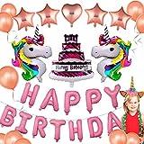 JUSTIDEA 55Pack Palloncini Unicorno Bambina Festone Buon Compleanno, Adesivo Confetti in Lattice Nastro Unicorno Compleanno Party