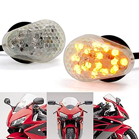 Motorcycle Flush Mount LED Turn Signals Indicators Blinkers Side Marker Lights for Kawasaki Motorbike (Clear Shell, Amber light)