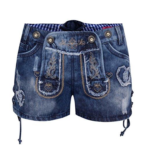 kurze Jeans-Lederhose Aurelia in Blau von Krüger Dirndl, Größe:34, Farbe:Blau