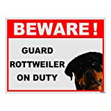 #6: Clickforsign Beware of Guard Dog Rottweiler on Duty Sign Sticker, 12 x 9 inch