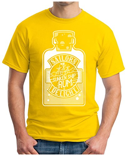OM3 - SAILORS-DELIGHT - T-Shirt SUNKEN SHIP RUM SAILORS DELIGHT PIRAT CARIBEAN RHUM GEEK Gelb