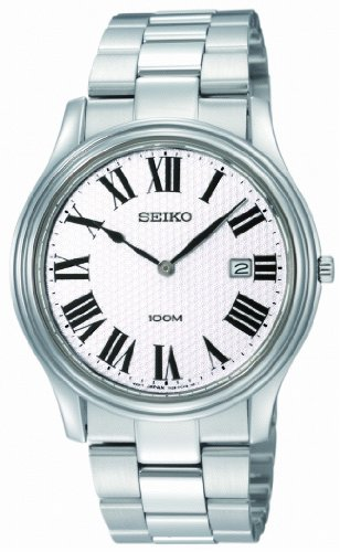 Seiko Unisex Analogue Watch with silver Dial Analogue Display and Stainless steel plated Silver - SKP345