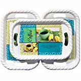 #4: Decornt Decorative Serving Platter/Large Tray; Made of Premium Plastic; Rectangular shape; Length 15 Inches X Breadth 10 Inches; Set of 3; Multi-Color.