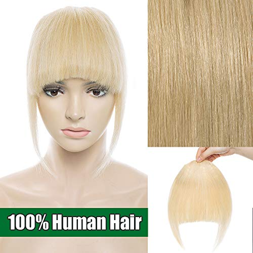 Frangia clip capelli veri frangetta extension capelli veri clip fringe 100% remy human hair bang lisci umani, #613 biondo chiarissimo
