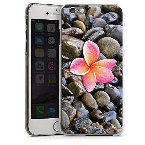 Apple iPhone 4 Housse Étui Silicone Coque Protection Fleur Rose vif Caillou CasDur transparent