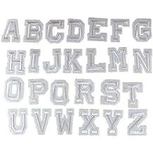 yalulu 26pcs color blanco con letras del alfabeto mixto parches bordados hierro en parche para pegar