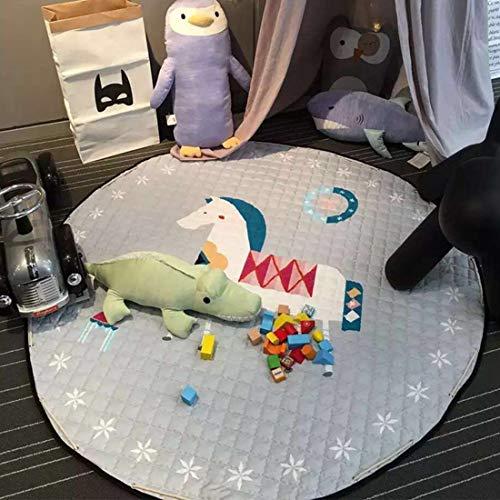 BELLENOV 145 cm Spielzeug Speicher Tasche, Weiche Baumwolle Baby Krabbeldecke Kinderteppich, Kinder Cartoon Spielmatte Spieldecke Aufbewahrungsbeutel Aufräumsack für Kinderzimmer(Schaukelpferd) (Gefüllte Schaukelpferd)