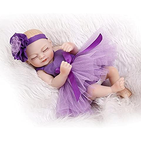 Nicery 10 pulgadas renacer de la muñeca de silicona duro Simulación de vinilo resistente al agua del baño de 26cm de juguete del niño presente púrpura vestido de niña con los ojos cerrados Reborn Baby