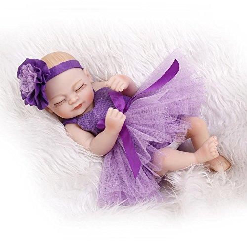 NPKDOLL Reborn Bébé Poupée Dur Vinyle Silicone Simulation 10inch 26cm étanche Bain Jouet Enfant Présent Violet Fille Robe avec Les Yeux fermés Baby Doll A1FR