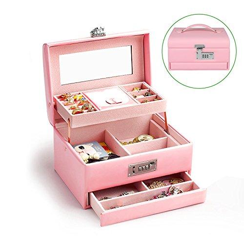 TSSS 3-Code Zahlenschloss Schmuckkasten mit Spiegel Damen Mädchen Abschließbar Schmuckkoffer Pink Kunstleder Schmuckkästchen Schmucklade Boxen - 2