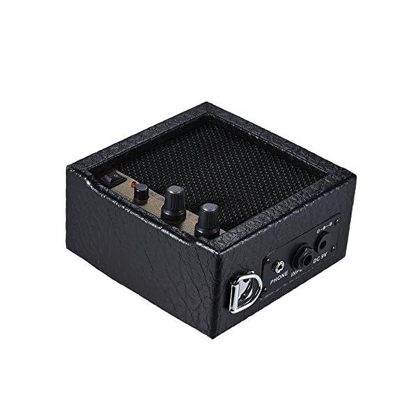 ammoon Amplificatore Altoparlante Mini Batteria Caricata per Chitarra Basso Ukulele Alta Sensibilità 3 Watt 9 Volt con Controllo del Tono di Volume Funzione Overdrive