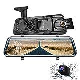 Eyesun Cam 9.66 Pulgadas Espejo Dash CAM, Pantalla táctil Completa 170 Grados 1080P cámara Frontal + 150 Grados 1296P visión Trasera G-Sensor Monitor de estacionamiento detección de Movimiento