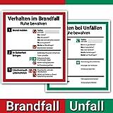Schild Aushang Verhalten im Brandfall und Verhalten bei Unfällen als Set, 18x20cm, mit UV-Schutz, PVC-Aufkleber, ISO 7010, Betriebsaushang Notfallplan