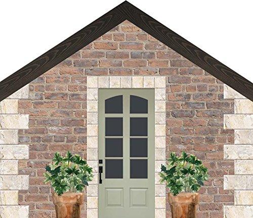 P. Graham Dunn Brick House mit Grün Tür 14x 11,4cm Kiefer Holz Block Tischplatte Schild (Hochzeit Zum Dekor Verkauf)