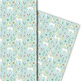 zauberhaftes Kinder Geschenkpapier mit Einhorn, hellblau, für tolle Geschenk Verpackung und Überraschungen (4 Bogen, 32 x 48cm)