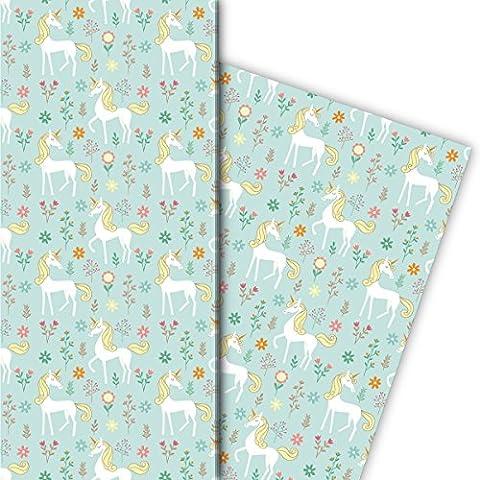 zauberhaftes Kinder Geschenkpapier Set (4 Bogen)/ Dekorpapier mit Einhorn, hellblau, für tolle Geschenk Verpackung und Überraschungen basteln 32 x 48cm
