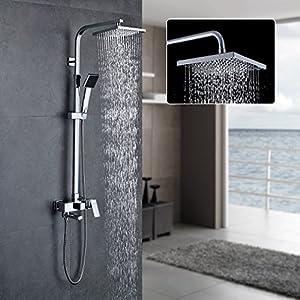 Auralum – Columna de ducha sistema con barra, efecto lluvia, alcachofa rectangular y de tipo teléfono para baño o ducha, 850-1350mm. Altura ajustable