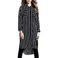 MCC sezione lunga camicia a righe verticali della donna maniche lunghe bavero Hem irregolare cappotto grandi dimensioni , black bars , one size
