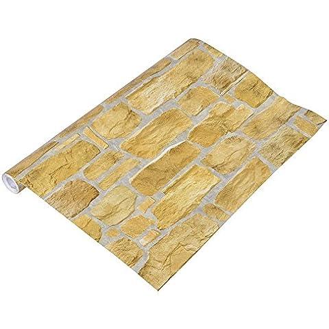 carta da parati autoadesiva stereo materiale del PVC di spessore in marmo modello di mattoni marrone impresso autoadesivi della decorazione della parete fai da te