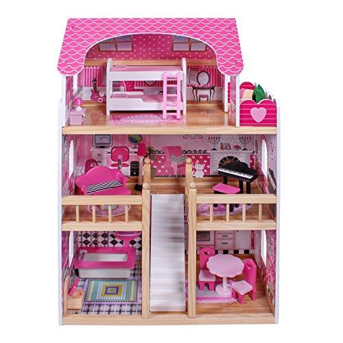 Puppenhaus aus Holz 3 Etagen Holzpuppenhaus Holzhaus Kinder Holz Holzspielzeug mit 15 Möbeln