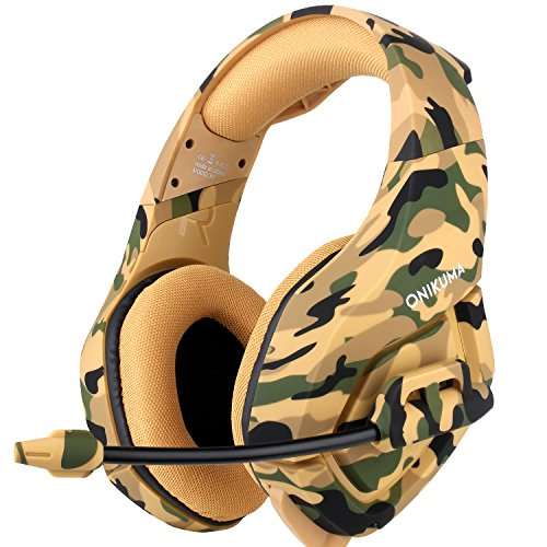 ONIKUMA Gaming Headset mit Noise Cancelling Mic für PS4 Xbox One PC Nintendo Switch Laptop Smartphones (Yellow) (Yellow)