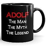 Adolf Coffee Mug Kaffeetasse Kaffeebecher Personalisiert mit Name- The Man The Myth The Legend Gift for Männer Men - 11 oz Black Mug - Red