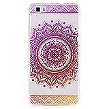 MUTOUREN Etui transparent en TPU silicone pour Huawei P8 Lite en Violet transparent Mandala design soleil indien