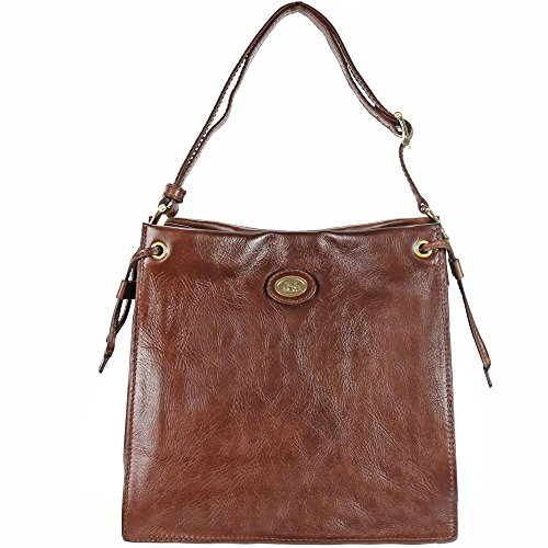 The Bridge Saddlery Donna Schultertasche Umhängetasche Leder 28 cm marrone