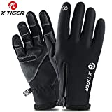 X-TIGER Gants de Toison Thermique Hiver Écran Tactile Homme-Confortables,Chauds,étanches,Protègent du Vent,Imperméables Cyclisme Gants