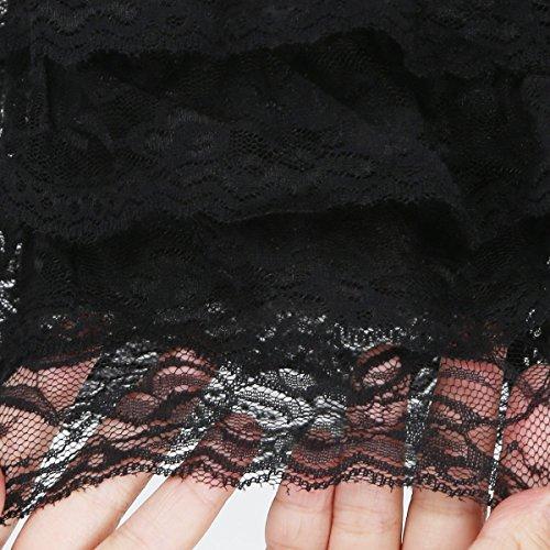 JNTworld Frauen-Multi-Layer-Spitze-Häkelarbeit-Shorts Sexy Sicherheits-Hosen Hosenrock Schwarz
