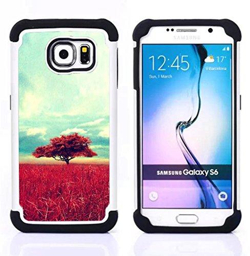 Samsung Galaxy S6 / SM-G920 - 3 in 1 Colorful Heavy Duty Stampato in PC Soft silicone nero della copertura gel della cassa Jacket (Africa Savannah Natura Albero Campo)