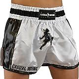 Casual Boxing Thai Short de boxe Blanc/Noir FR : L (Taille Fabricant : L)