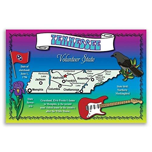 Tennessee State Karte-Postkarten-Set von 20identische Postkarten. Post Karten mit TN Karte und State Symbole. Hergestellt in den USA.