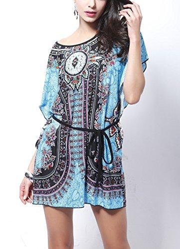 Damen Druckkleider Freizeitkleider Minikleid Kurzarm Fledermausärmel Rundkragen Blumendrucken Vintage Ethno-Style Mini Locker Blau