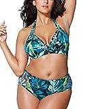 NINGSANJIN Bikini FüR Mollige Frauen Sexy Zweiteilige Badeanzug Strandkleidung Oberteil Bandeau Strandmode Sport Split Blumen Bikinihose (Blau,3XL)