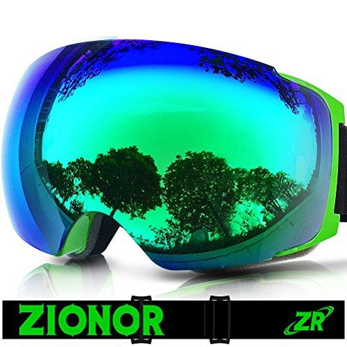 Occhiali da sci, zionor lagopus x4 snowboard maschera da sci con magnete cambio rapido sistema di lenti sferica wide view anti nebbia protezione uv400 occhiali per adulti e adolescenti