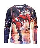 Honeystore Unisex Weihnachtsshirt Christmas 3D Druck Sweatshirt Casual Langarm Rundhals Pullover Drucken Weihnachten T-Shirts mit 3D Druckmuster Weihnachtsmann-02 L