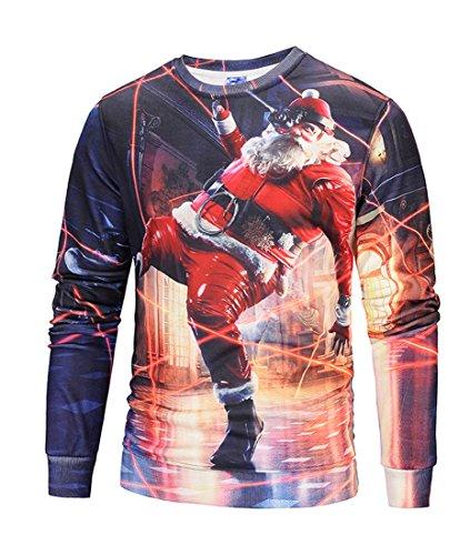 ihnachtsshirt Christmas 3D Druck Sweatshirt Casual Langarm Rundhals Pullover Drucken Weihnachten T-Shirts mit 3D Druckmuster Weihnachtsmann-02 L (Gurke-kostüm Für Kinder)