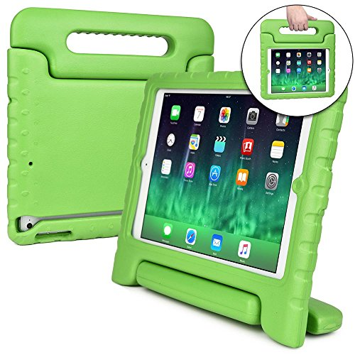Cooper Cases(TM) Dynamo iPad Air Kids Case in Green + Free Screen Protector (Lightweight, Shock-Absorbing, Child-Safe EVA Foam, Built-in Handle and Viewing Stand)