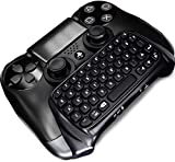 Stoga Bluetooth Mini Wireless Tastatur, Mini Wireless Chatpad Nachricht USB Game Controller 2.4G Wireless Tastatur Adapter DualShock Controller PS4 PlayStation (Schwarz)