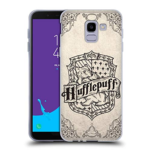 Head Case Designs Offizielle Harry Potter Hufflepuff Pergament Sorcerer's Stone I Soft Gel Huelle kompatibel mit Samsung Galaxy J6 / On6 (2018) -