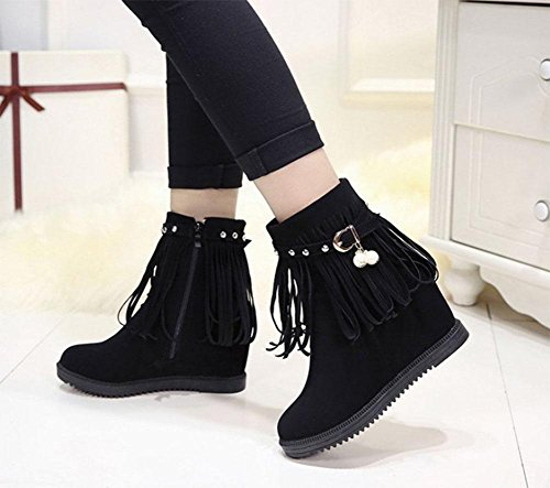 MEILI Stivali da donna, stivali, scarpe da donna, fondo spesso, interno rinforzato, tinta unita, nappe, stivali Martin, stivali, taglia grande, scarpe di cotone black