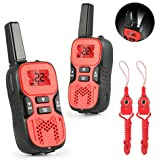 Kids Walkie Talkies, Abask Durable Two Way Radio For Children 22-Channel 3 Mile Portable Handheld Gifts For Outdoor Hiking Camping Activities Built In Flash Light (2pcs)